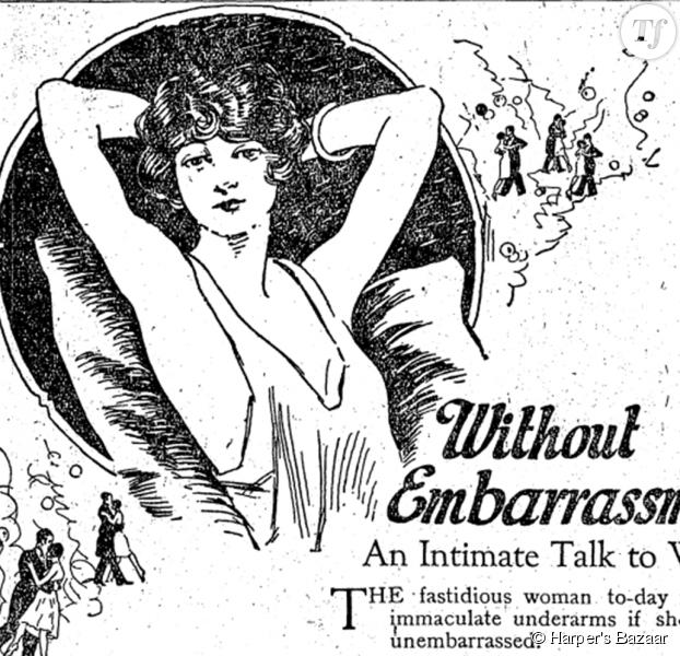 Une publicité pour une crème dépilatoire dans Harper's Bazaar en 1922.