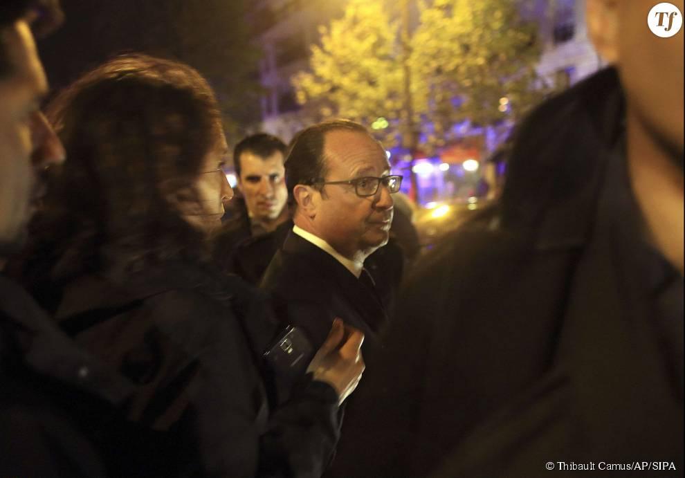 Photos des attentats du 13 novembre 2015 : François Hollande devant le Bataclan