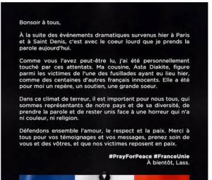 Lassana Diarra publie une très belle lettre après la mort de sa cousine au Bataclan