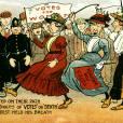 Une caricature des suffragettes anglaises