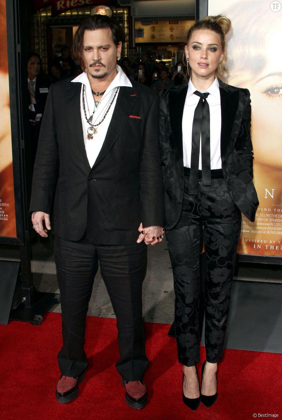 """Johnny Depp et sa femme Amber Heard à la première de """"The Danish Girl"""""""