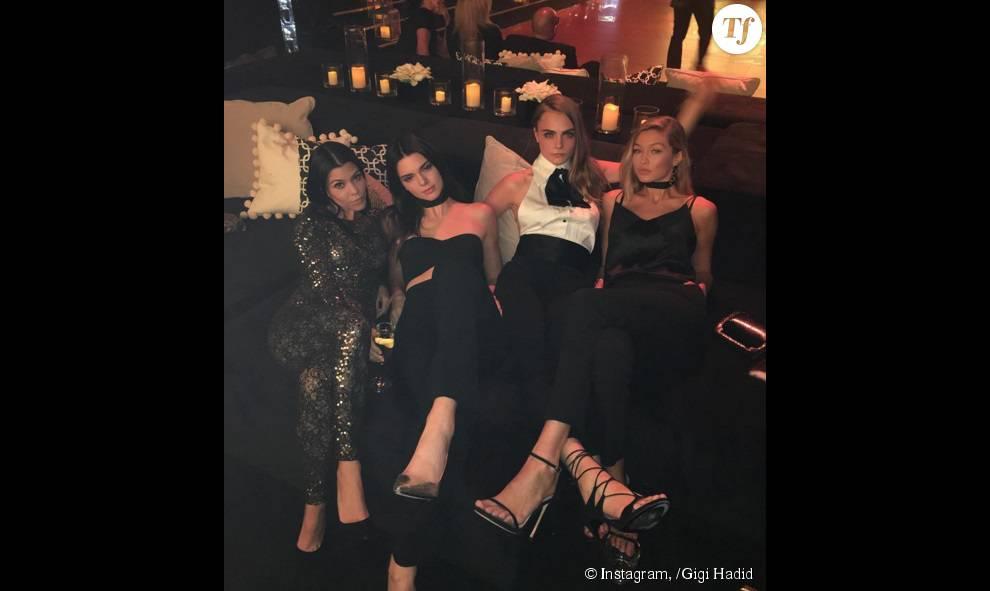 Kourtney Kardashian, Kendall Jenner, Cara Delevingne et Gigi Hadid à l'anniversaire de P. Diddy