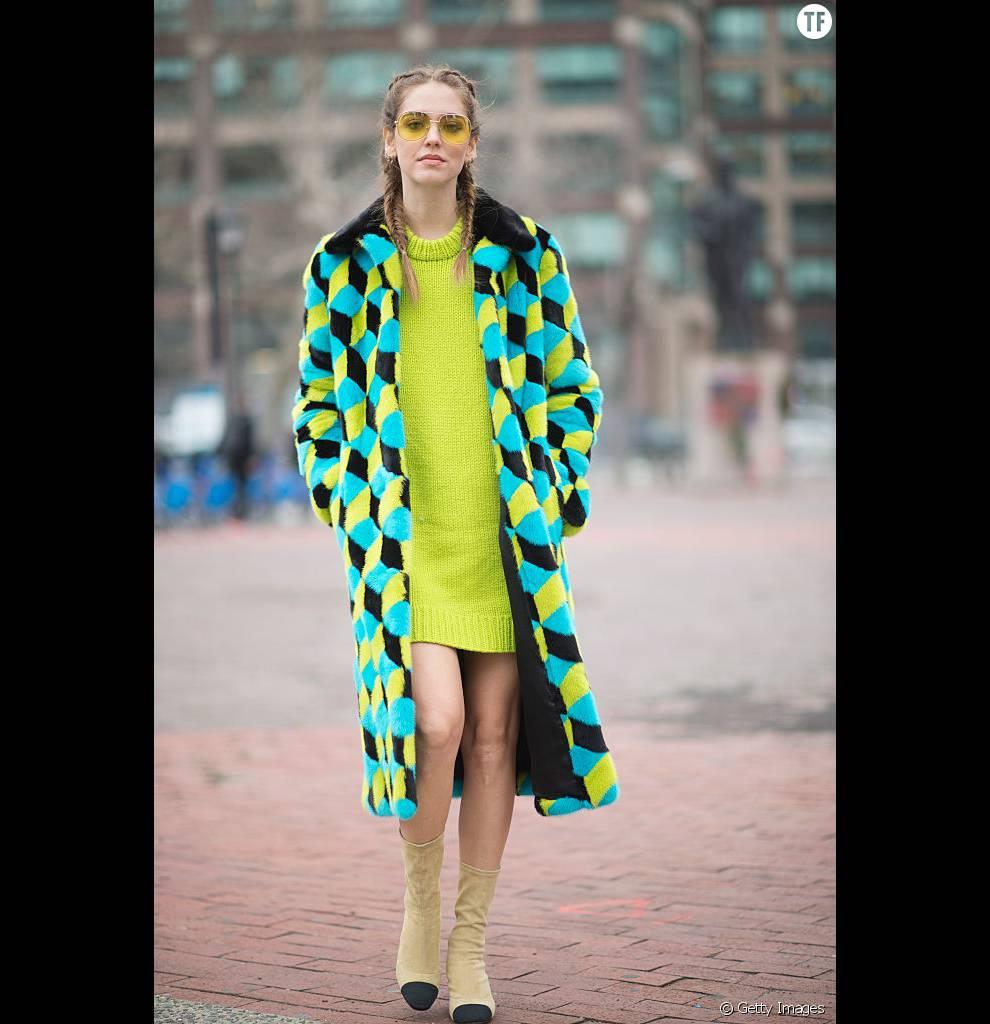 La blogueuse Chiara Ferragni et ses Boxer Braids pendant la Fashion Week à New-York.