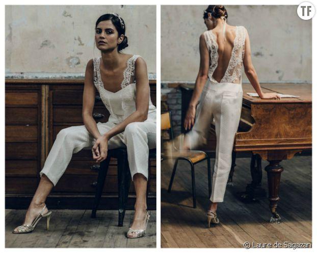 L'ensemble pantalon de mariée de Laure de Sagazan