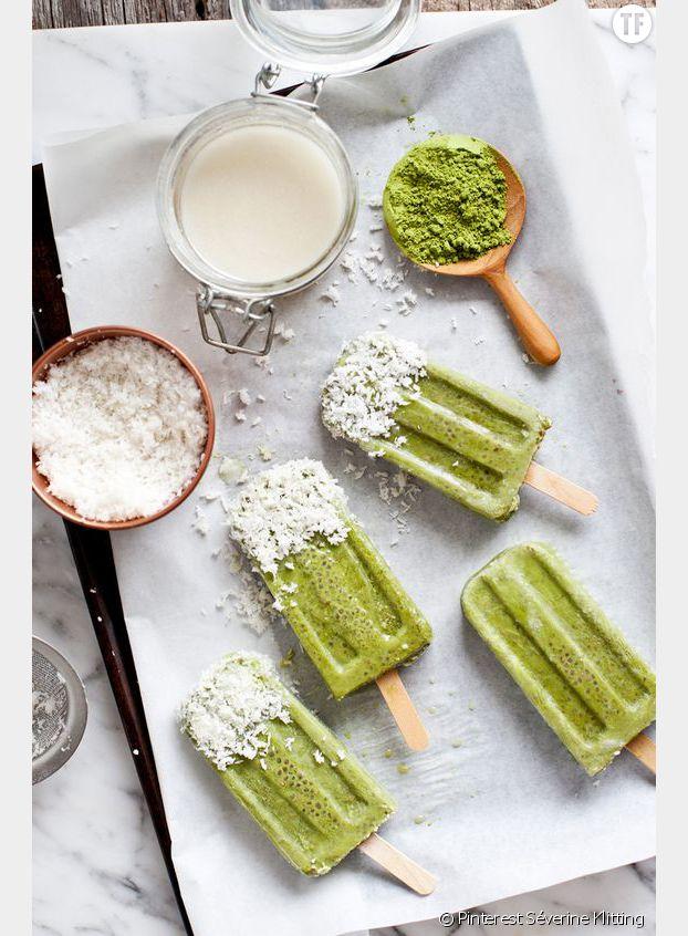 La recette des bâtonnets de glace au matcha et à la noix de coco