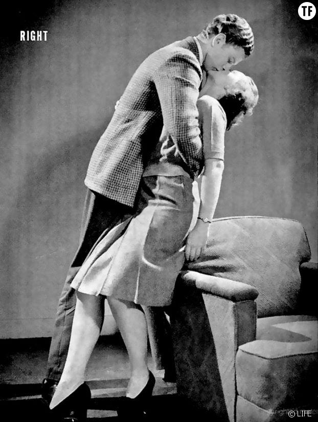 Illustration du guide du baiser parfait des années 40