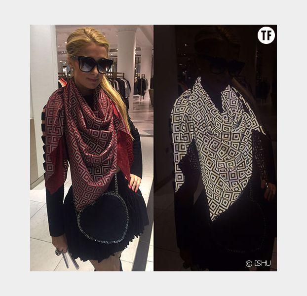 Paris Hilton, à l'abri des paparazzis grâce au foulard ISHU
