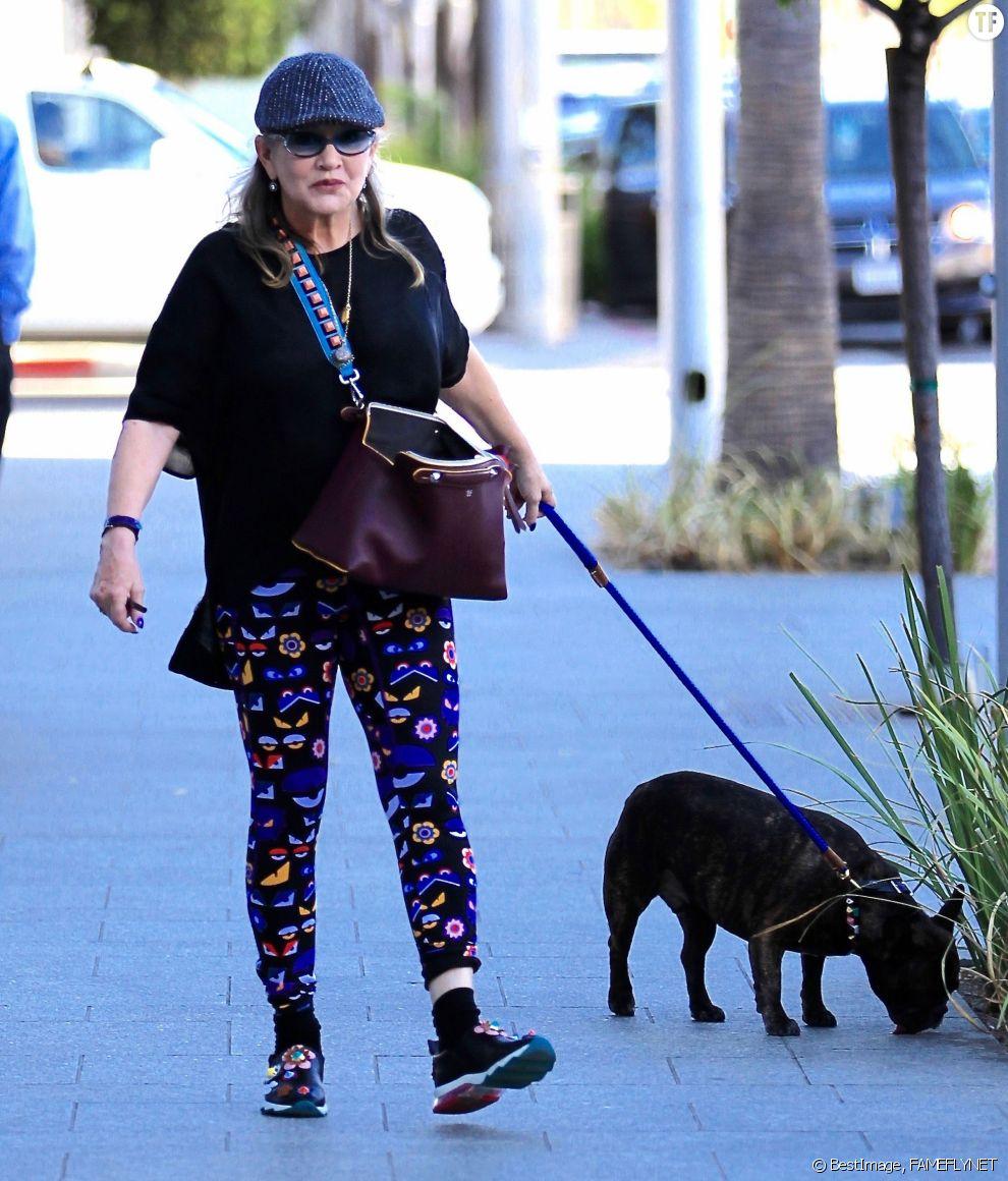 Carrie Fisher et son meilleur compagnon Gary en septembre 2016 dans les rues de Beverly Hills.