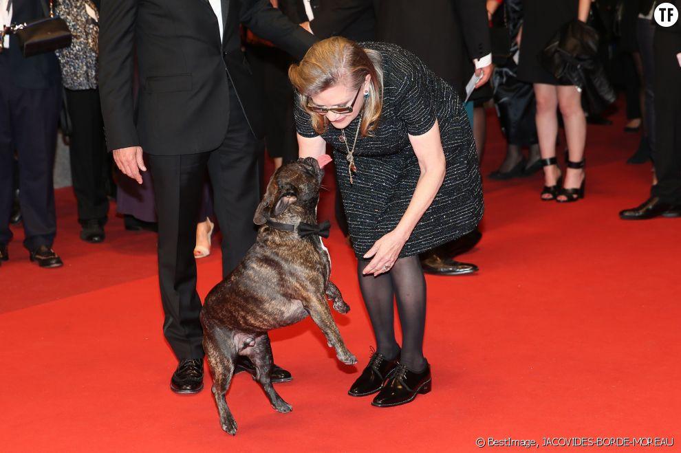 Carrie Fisher et Gary sur le tapis rouge du Festival de Cannes en mai 2016