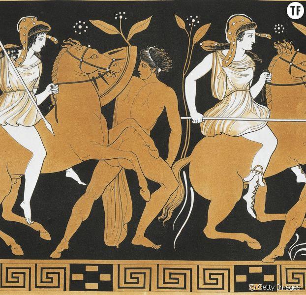 Victoire de Thésée sur les Amazones, selon le mythe grec