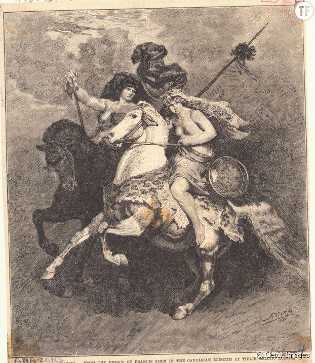Gravure de Penthesilea, reine des Amazones.
