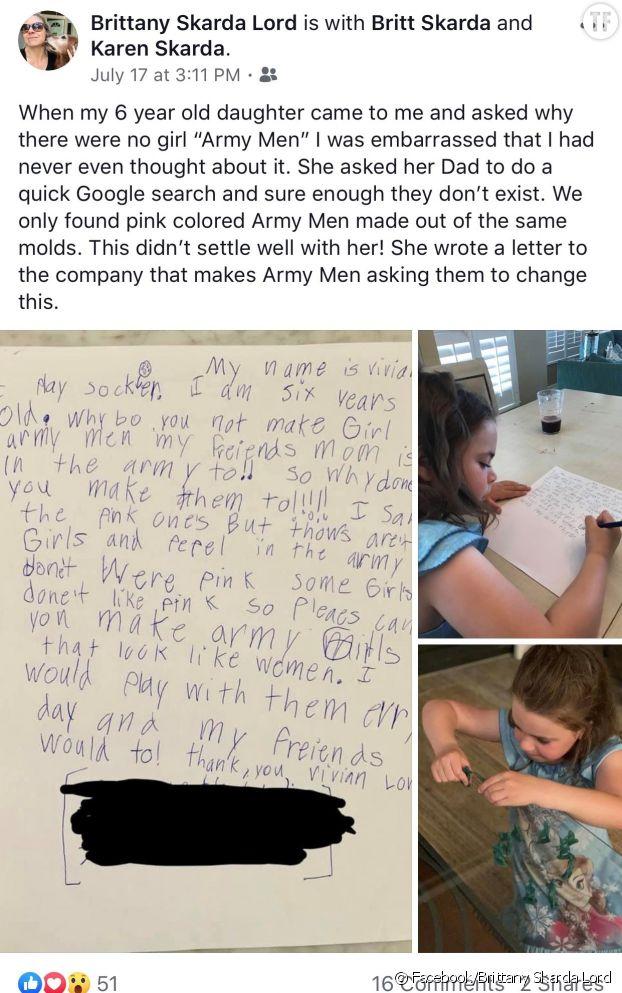La petite Vivian a décidé d'écrire une lettre au fabricant de jouet quand elle s'est rendu compte qu'il n'y avait pas de figurines de soldates disponibles à la vente.
