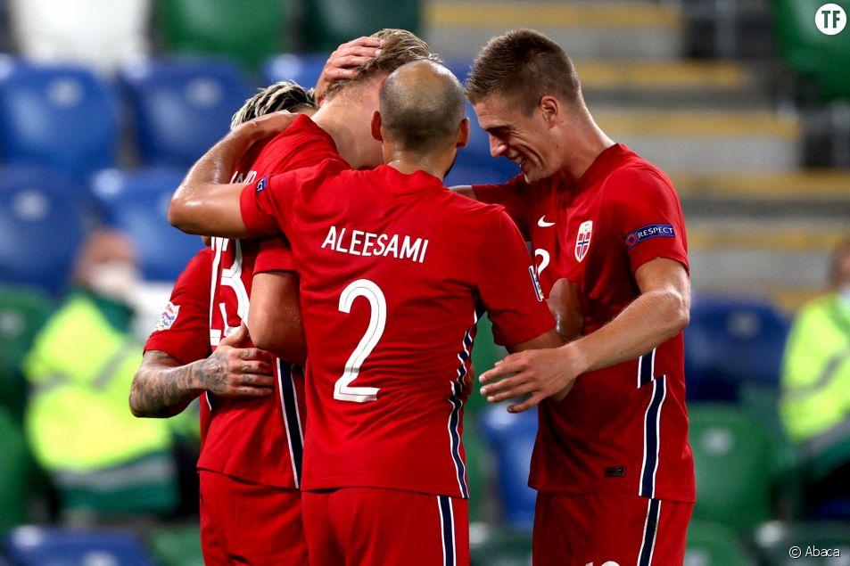 L'équipe nationale de foot de Norvège lors du match face à l'Irlande du Nord, en septembre 2020.