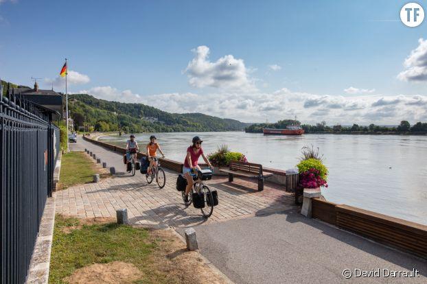 Bords de seine à vélo à Villequier