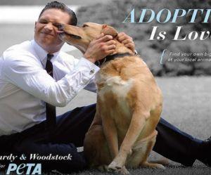 Tom Hardy embrasse son chien pour la PETA