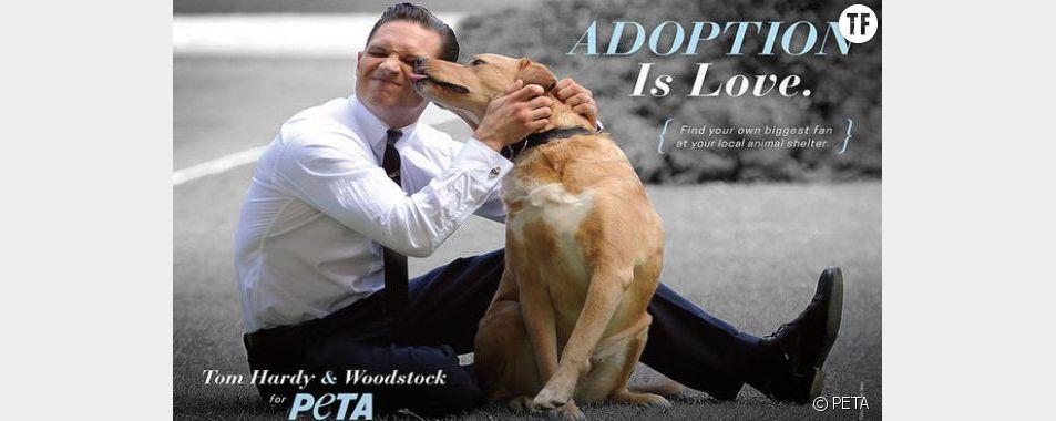 L'affiche de la PETA avec Tom Hardy et son chien Woodstock