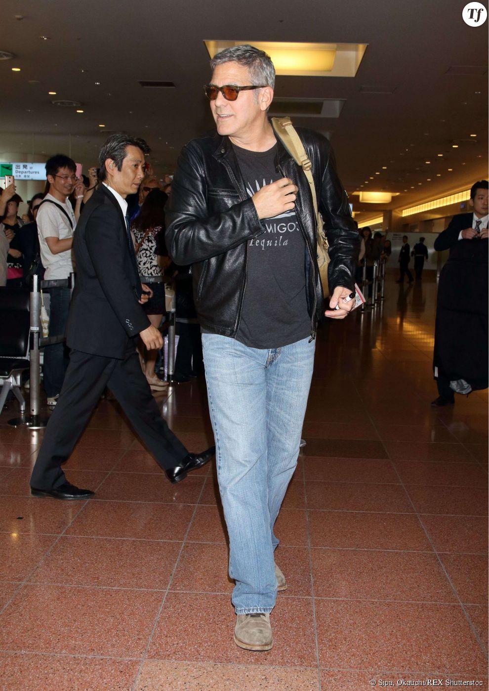 George Clooney à l'aéroport Haneda de Tokyo, le 24 mai 2015.