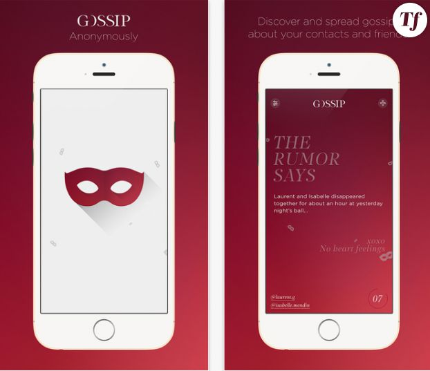 Capture écran iPhone de l'application Gossip.