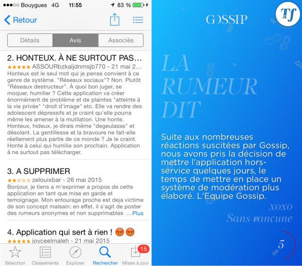 Des exemples de commentaires laissés par les internautes et le message adressé par Gossip à ses utilisateurs.