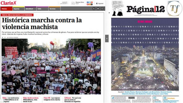 Les unes des journaux argentins au lendemain de la manifestation du 3 juin.