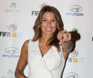 """Laury Thilleman - Soirée de lancement du jeu vidéo """"FIFA 2016"""" au Faust à Paris, le 21 septembre 2015."""