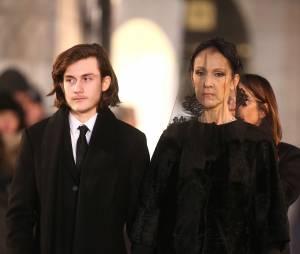 Céline Dion et son fils René-Charles Angélil - Sorties des obsèques nationales de René Angélil en la Basilique Notre-Dame de Montréal, le 22 janvier 2016.© Morgan Dessales/Bestimage