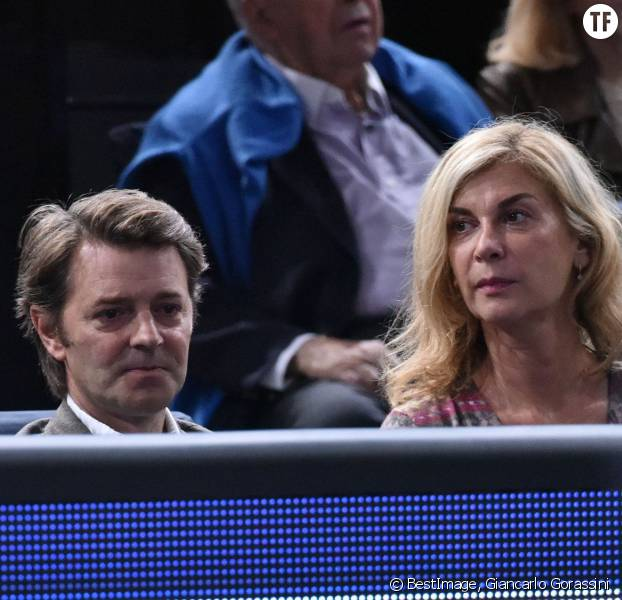 François Baroin et sa compagne Michèle Laroque lors du tournoi BNP Paribas Masters 2015