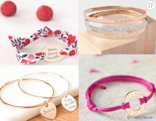 Les jolis bracelets personnalisables de Merci Maman.