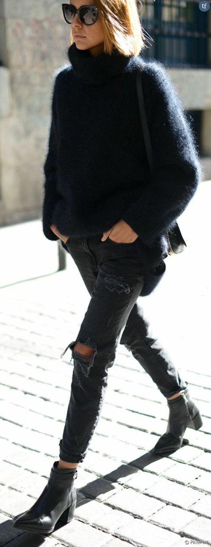 le jean noir d chir avec un gros pull doudou. Black Bedroom Furniture Sets. Home Design Ideas