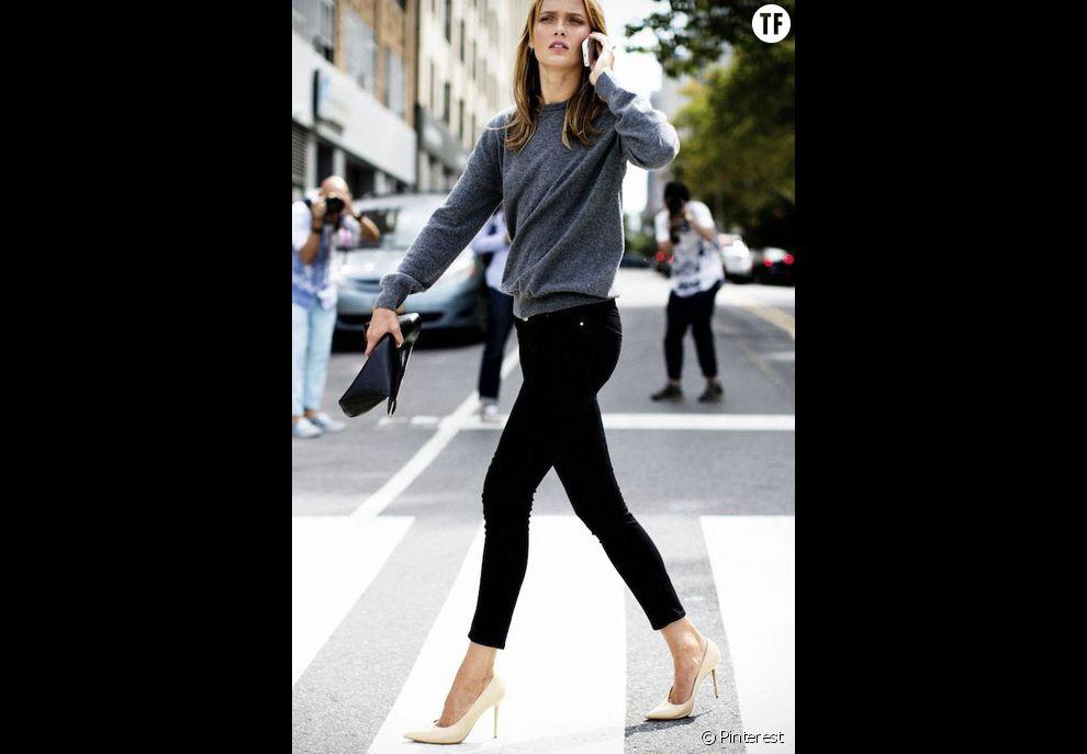 22ffc17c49ade Le jean noir avec des escarpins nude - Terrafemina