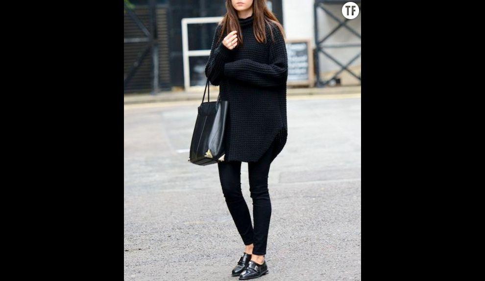 le jean noir avec un pull xxl total look noir. Black Bedroom Furniture Sets. Home Design Ideas