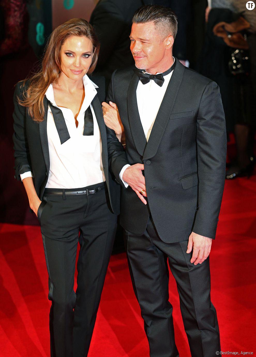 Brad Pitt et Angelina Jolie au BAFTA Awards en février 2014