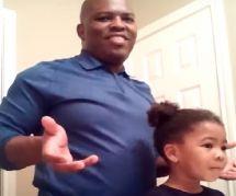 Cette petite fille encourageant son papa qui la coiffe est adorable
