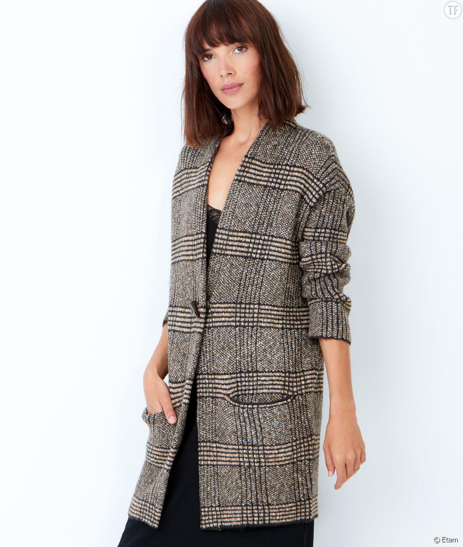 Manteau femme imprime prince de galles