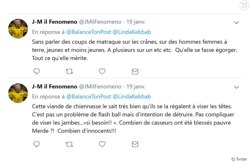 Les tweets d'insultes reçus par Linda Kebbab