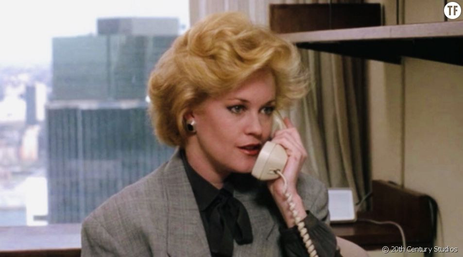 "Melanie Griffith, ""girlboss"" dans le film ""Working Girl""."