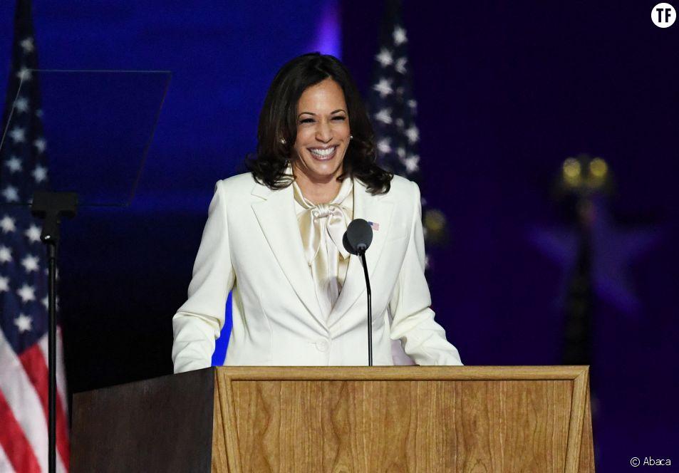 La vice-présidente élue Kamala Harris lors de son discours de victoire le 7 novembre 2020