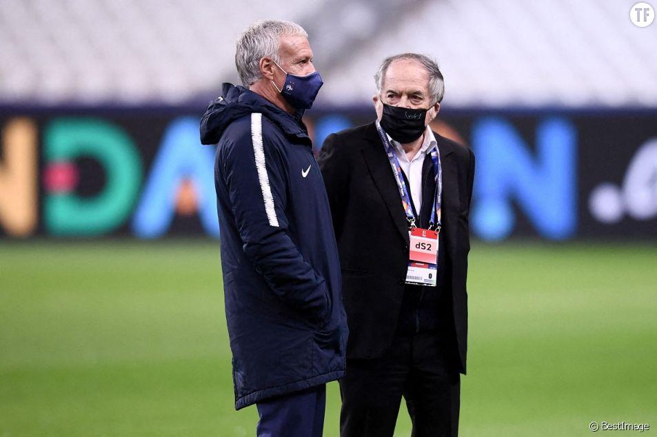 Didier Deschamps et Noel Le Graet au Stade de France à Saint-Denis le 17 novembre 2020.