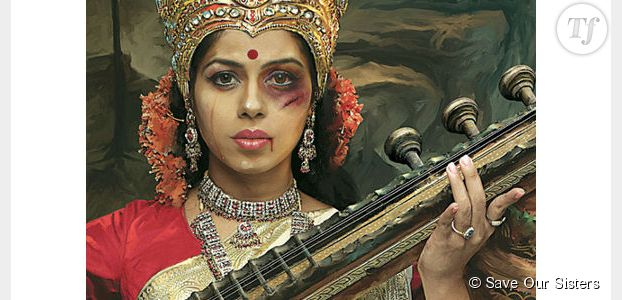 Abused Goddesses : une campagne choc contre la violence conjugale en Inde