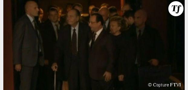 Jacques Chirac apparaît très affaibli, Hollande lui rend un émouvant hommage