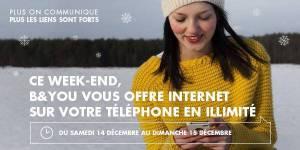 B&YOU : Internet mobile illimité et gratuit le week-end du 14-15 décembre