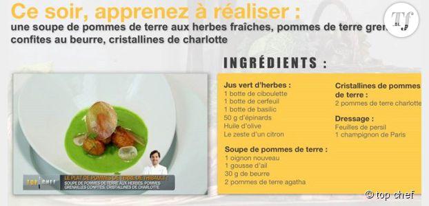 Top Chef 2014 : recette de la soupe de pommes de terre aux herbes de Thibault