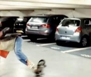 Laury Thilleman fait une belle chute en skate-board (vidéo)