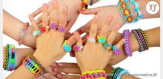 Rainbow loom comment fabriquer son bracelet en lastiques arc en ciel vid o terrafemina - Comment faire bracelet elastique ...