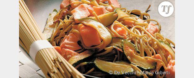Chasoba au thé vert, au saumon et aux courgettes