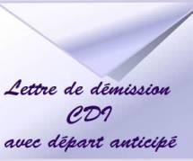 Rédiger une lettre de démission (CDI avec départ anticipé)