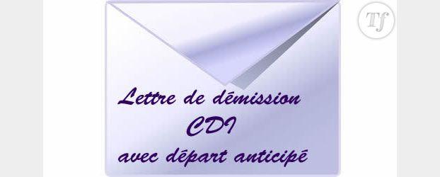 Rédiger une lettre de démission (CDI avec départ anticipé