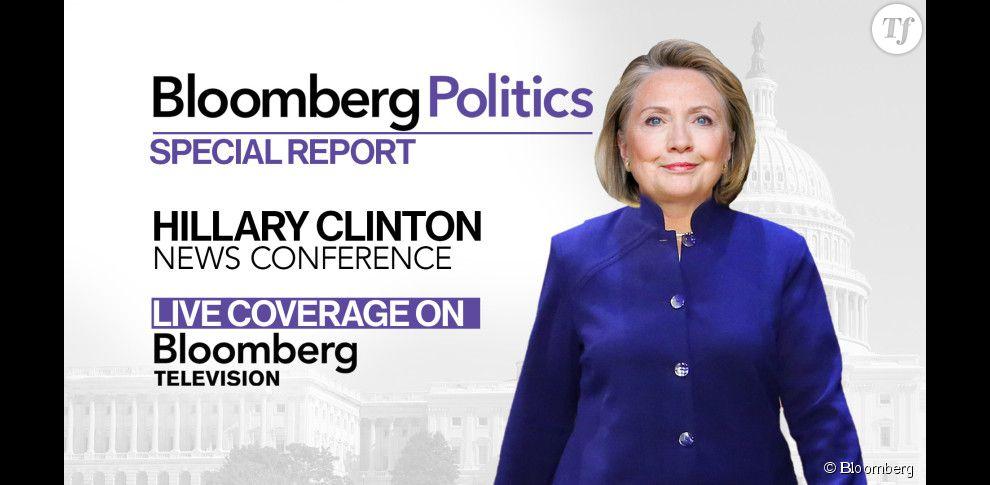 Visuel de Bloomberg pour la conférence de presse d'Hillary Clinton.