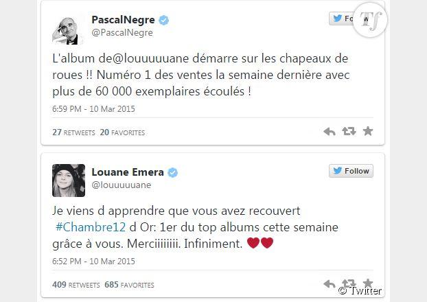 Les tweets de Pascal Nègre et Louane Emera