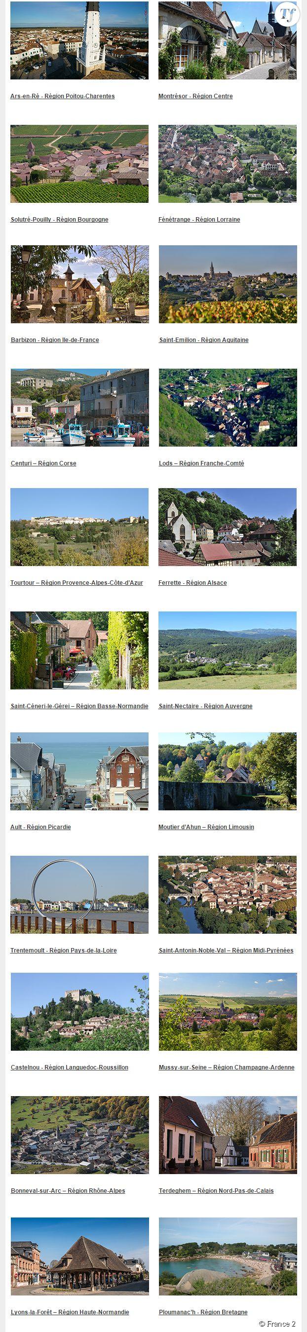 Les 22 villages sélectionnés pour le concours de Village Préféré des Français 2015.